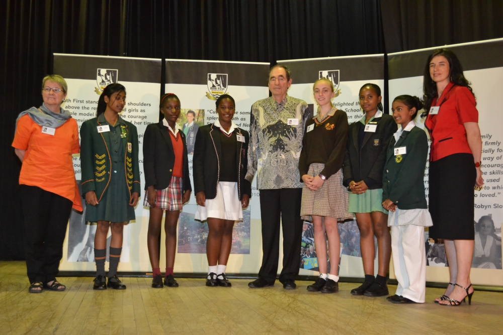 L-R: Prof Isabel Hofmeyr, Thirasha Waidyaratne (MW de Wet), Lerato Makhathini (Alston Primary), Sasha-Lee Morare (Jhb Girls), Albie Sachs, Dominique Meysel (Leicester Road), Gugulethu Khoza (Jeppe Prep), Firdous Hamid (Linksfield) and Dina Gonçalves.