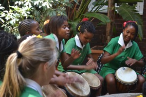 The Mamela drummers playing in the school atrium for Flower Show