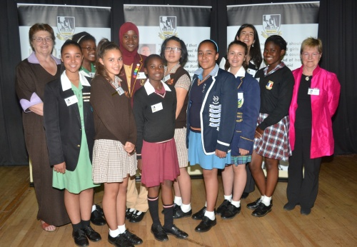 The 2014 Ruth First Scholarship recipients: Back Row-Governor Gill Marcus, Kgomotso Sekhukhune, Nawaal Santos, Sherry Jiang, Miss Dina Gonçalves, Prof Isabel Hofmeyr Front Row- Jamie Moyce, Claudia Steincke, Lerato Letele, Francesca Martis, Ivana Garvanski and Tayana Magatti