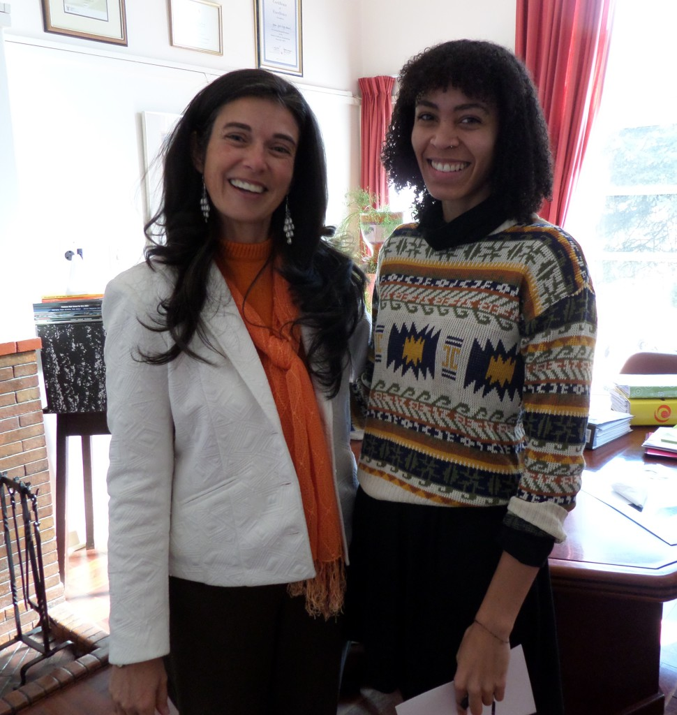 Pelonomi is seen here with Miss Goncalves after addressing the girls in Assembly in 2015